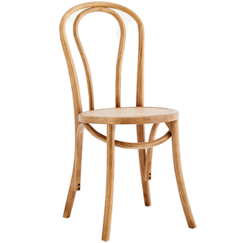 Wooden Chair with Rattan Seat