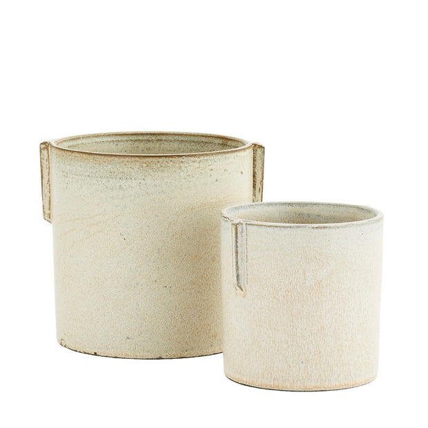 Ivory Stoneware Plant Pot- 2 sizes