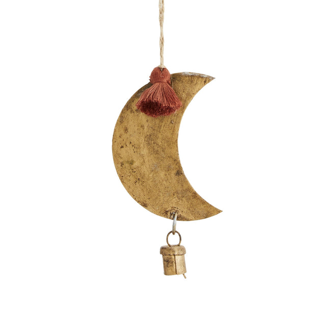 Metal Moon with Bell Decoration