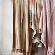 Striped Woven Throw with Fringe Detail