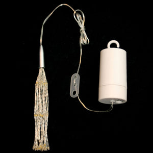 silver wire hanging lights with cylinder battery pack