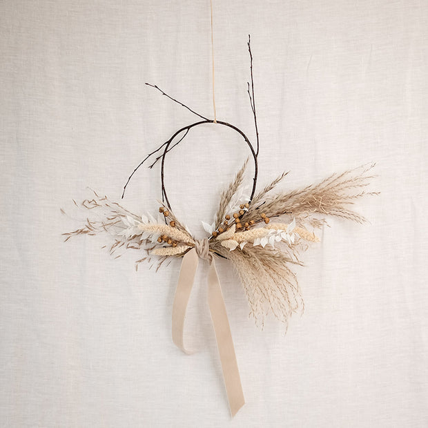 Neutral Mini Dried Flower Birch Wreath