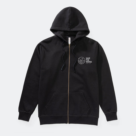 Save The Waves Unisex Zip Black Hoodie