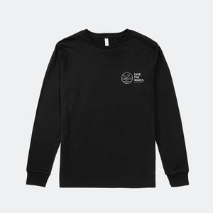 Save The Waves Unisex Classic Logo Black Long Sleeve Tee