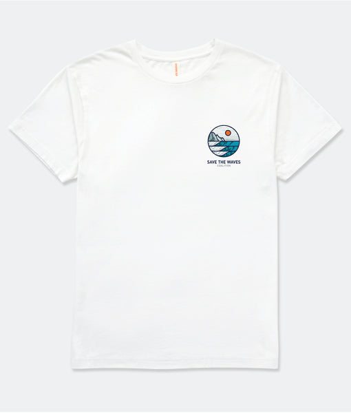 Save The Waves Unisex Sunrise Logo Tshirt_White