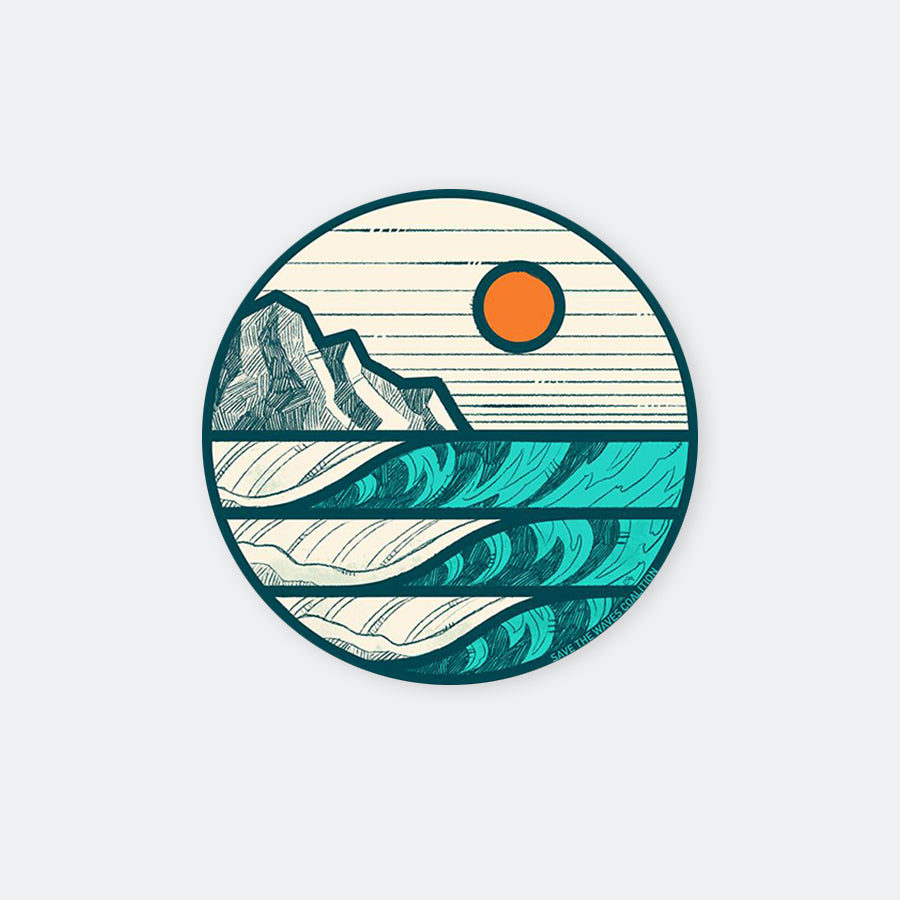 Save The Waves Sunrise Sticker