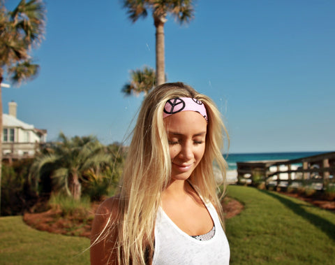 PEACE OUT baby pink High Performance Non-Slip Headband - Wild Child Headbands