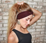 Extra Wide Yoga Headband Jersey Soft Cotton, Color: MERLOT