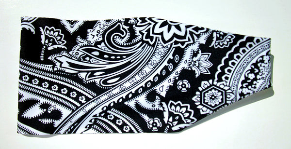 BLACK & WHITE PAISLEY BANDANA PRINT High Performance Non-Slip Headband - Wild Child Headbands