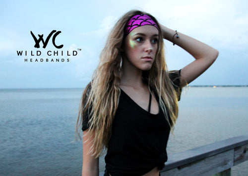 MERMAID SCALES MAGENTA High Performance Non-Slip Headband - Wild Child Headbands