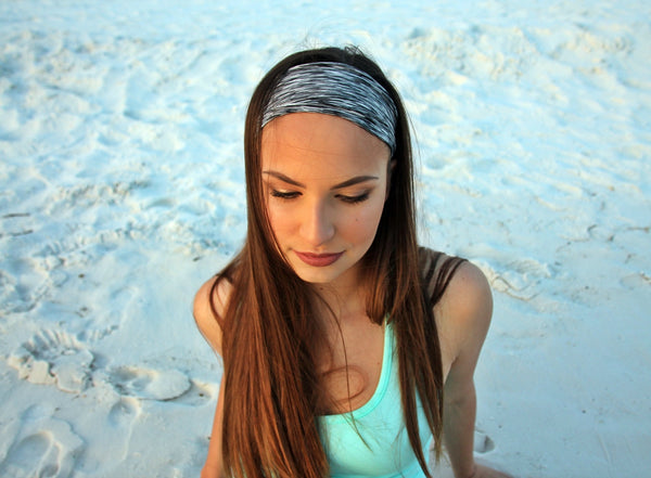 HEATHERED STRIPE BLACK AND WHITE High Performance Non-Slip Headband - Wild Child Headbands