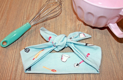 LOVE TO BAKE Jersey Soft Designer Tie Knot Headband