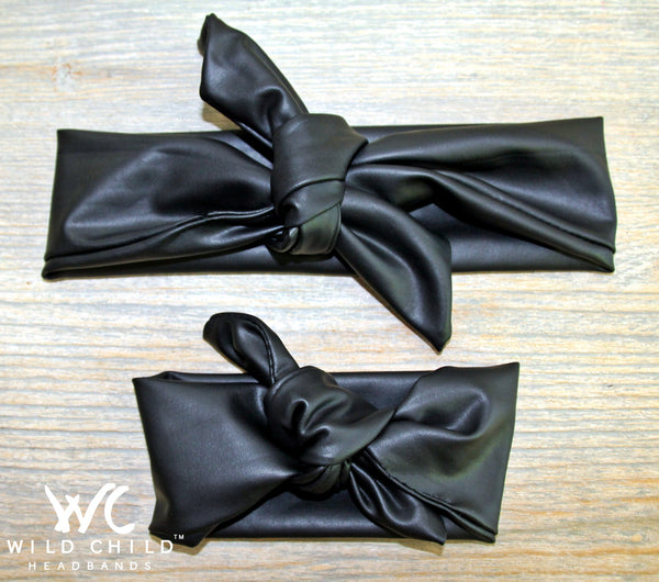 Mom and Baby Rock Star Black Leather Matching Headbands! - Wild Child Headbands