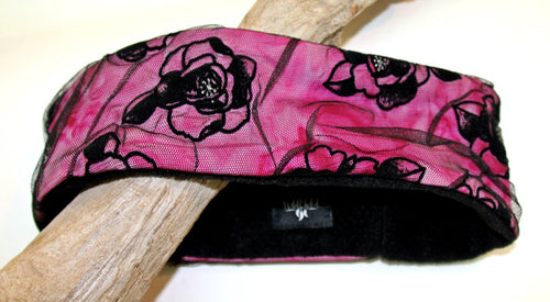 Black Netting Flowers On Pink Over Warm Black Fleece Headband - Wild Child Headbands