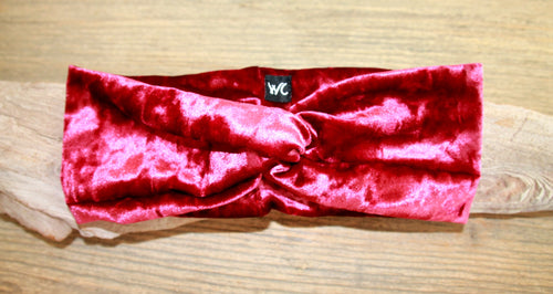 CRUSHED VELVET TWIST-BURGUNDY Headband