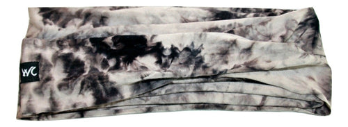 Extra Wide Headband Jersey Soft Cotton, Color: CHARCOAL TIE DYE