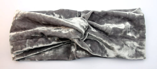 CRUSHED VELVET TWIST-GREY Headband - Wild Child Headbands