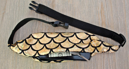 Gold Mermaid Scales Running Belt (Fanny Pack) - Wild Child Headbands