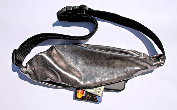 SPACE GIRL Metallic Gun Metal! Running Belt (Fanny Pack) - Wild Child Headbands