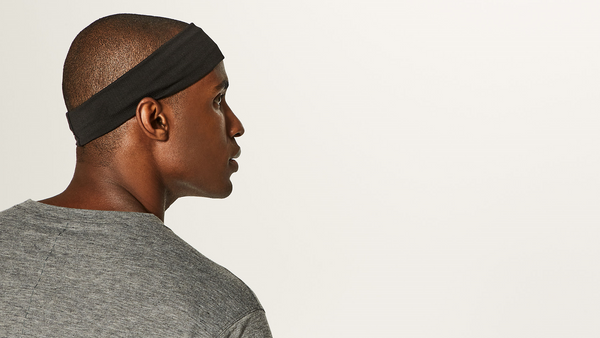 Mens Black Anti-Microbial Performance Spandex Headband - Wild Child Headbands