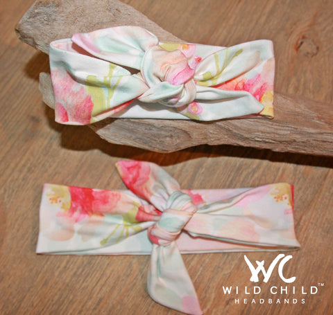 Mom and Me Designer Watercolor Florals Matching Headbands! - Wild Child Headbands