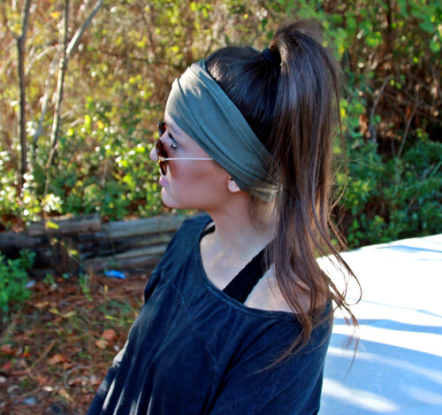 Extra Wide Yoga Headband Jersey Soft Cotton, Color: OLIVE