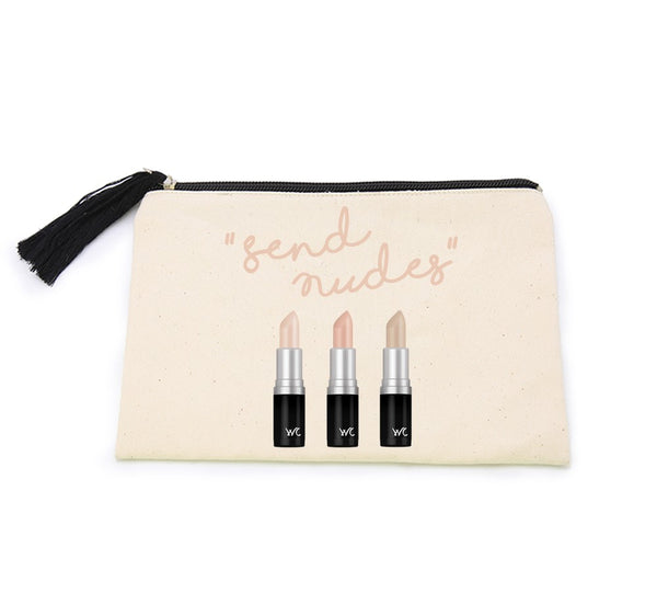 GIFT SET: SEND NUDES Lipstick Headband and Canvas Cosmetic Bag