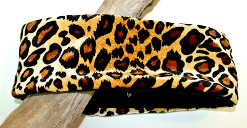 Crushed Velvet Leopard Over Warm Fleece Headband - Wild Child Headbands