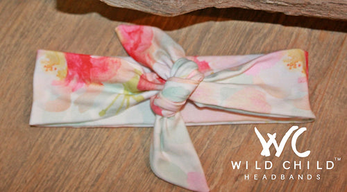 Watercolor Florals Designer Tie Knot Headband