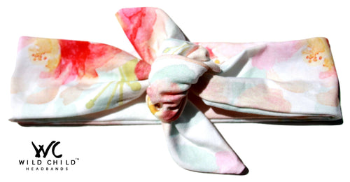 Watercolor Florals Designer Tie Knot Headband - Wild Child Headbands