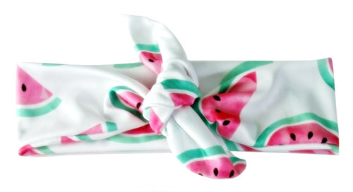 Watercolor Watermelons Designer Tie Knot Headband - Wild Child Headbands