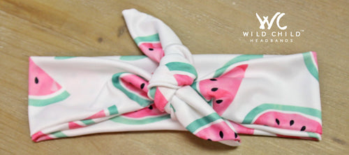 Watercolor Watermelons Designer Tie Knot Headband