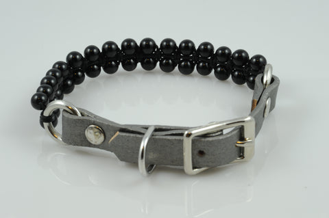 Gray Leather with Black Onyx