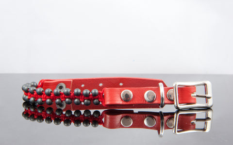"6.5"" Dog Collar - Hematite Beads - 3/8"" Wide"