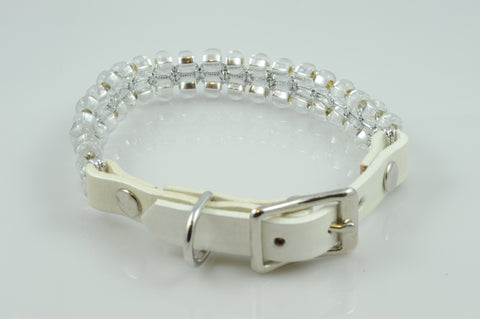 White Leather with Clear Silver Lined Seed Beads