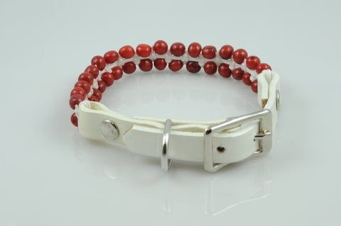 White Leather with Coral Beads