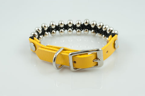 Yellow Leather with Seed Beads