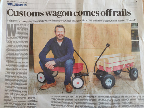 Toby Pull Along Wagon appearing in the Sunday Times for outdoor toys