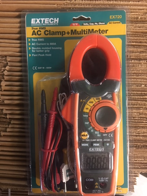True-RMS AC Clamp Meter, 600VAC/DC, 800AAC Current & Type K