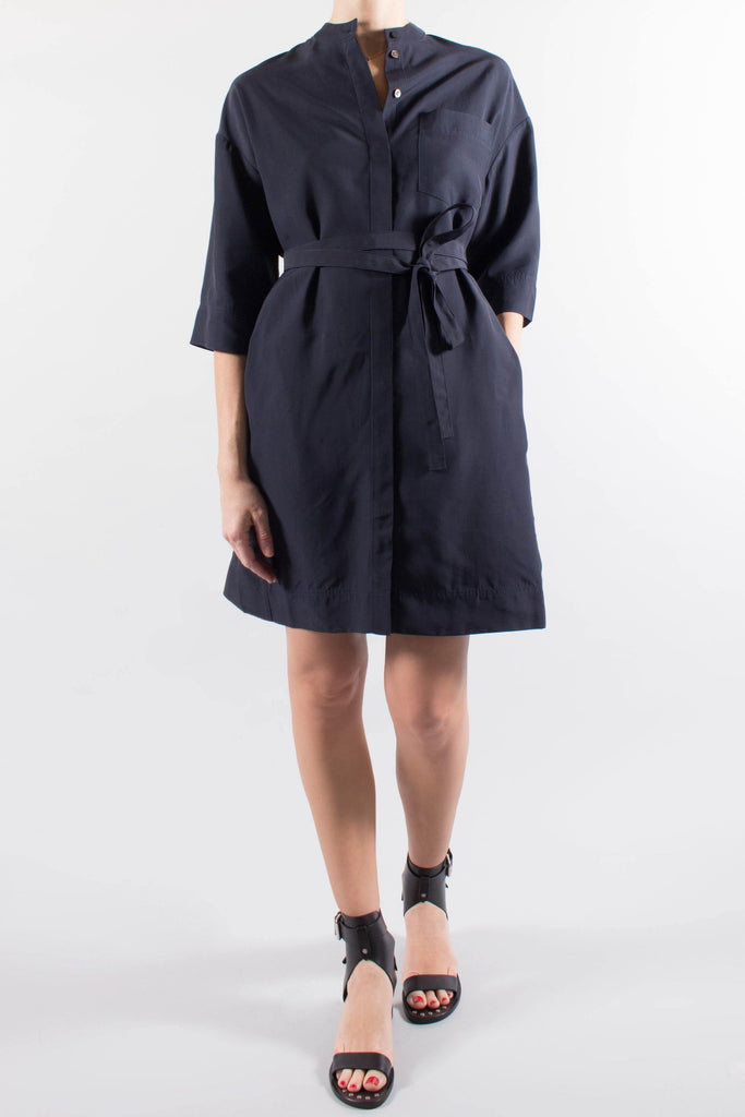 Co Belted Navy Shirt Dress