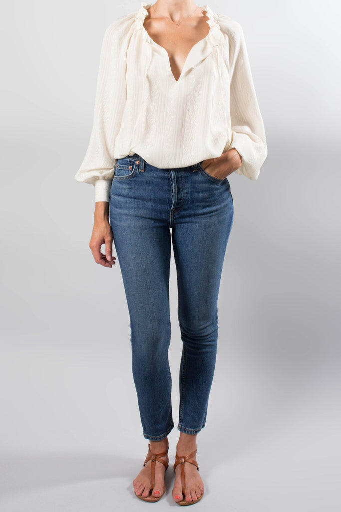 Co Long Sleeve Cinched Neck Blouse
