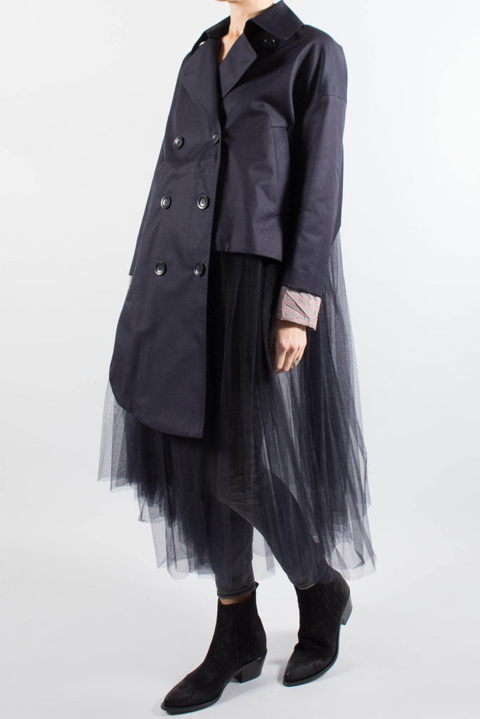 ENFOLD Asymmetrical Trench Coat With Tulle Layers