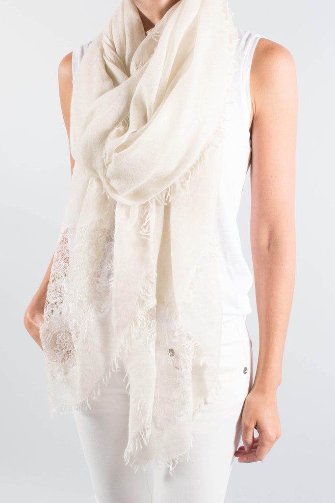 Faliero Sarti CHANTAL Delicate Lace Trim Scarf