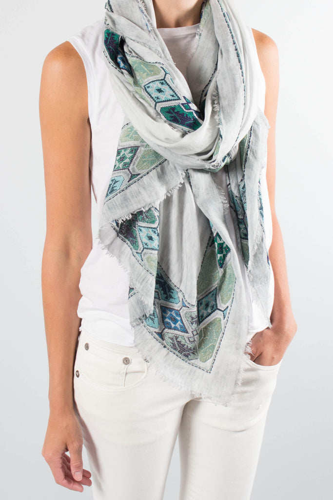 Faliero Sarti TULUM Scarf with Embroidered Trim