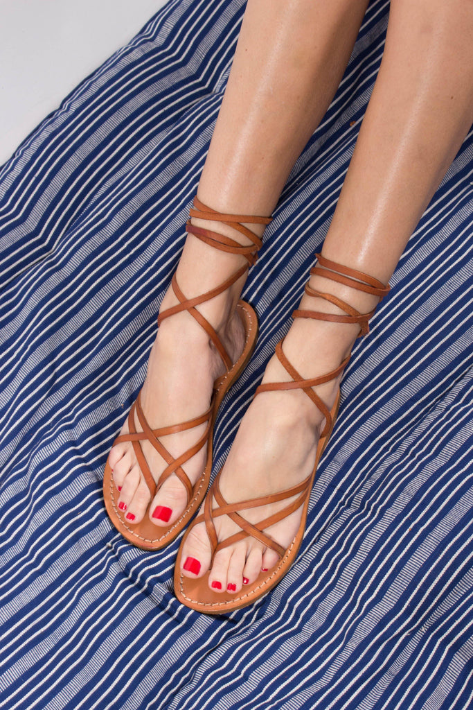 Gianluca Criss-Cross Leather Sandal with Ankle Ties