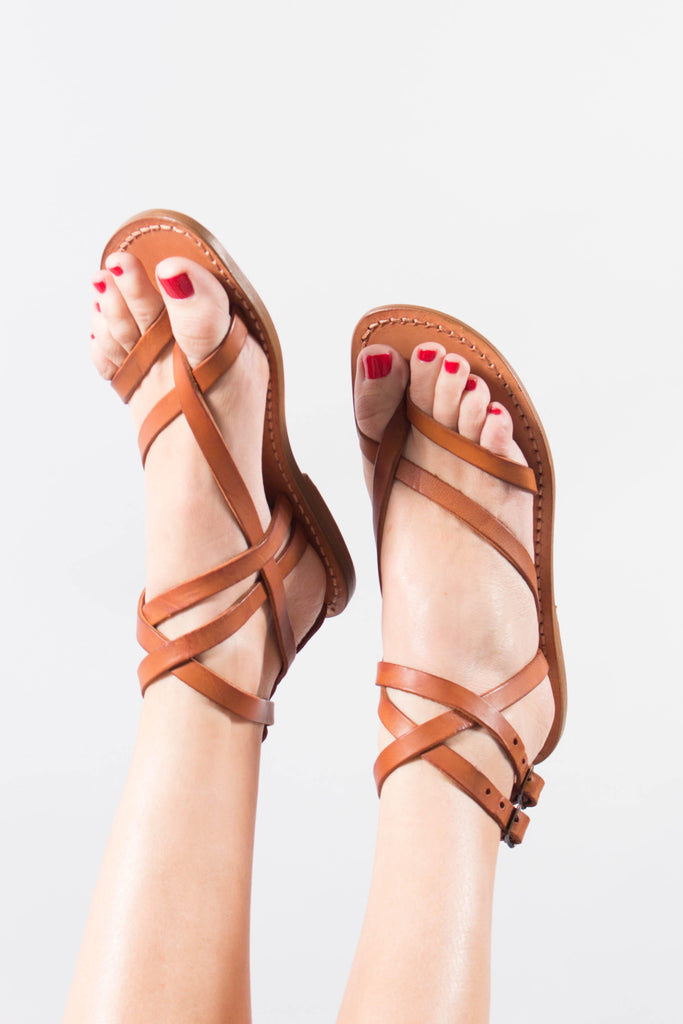 Gianluca Leather Sandal with Double Ankle Strap