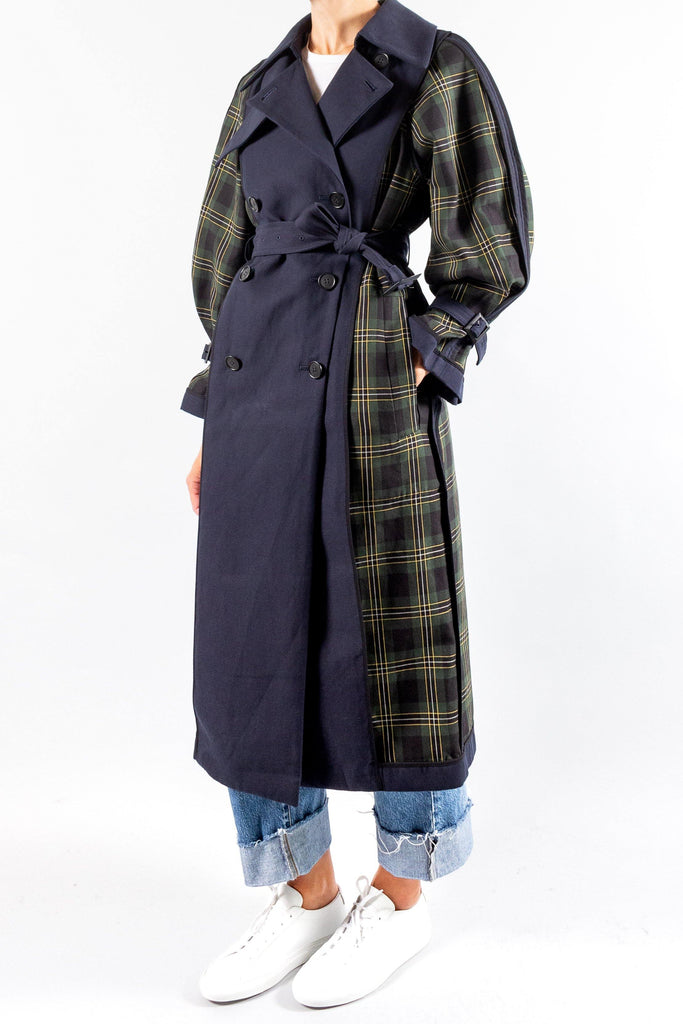 ENFOLD Plaid Canvas Trench