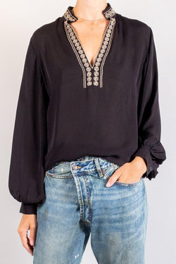 Nili Lotan Moroccan Embroidered Joey Top