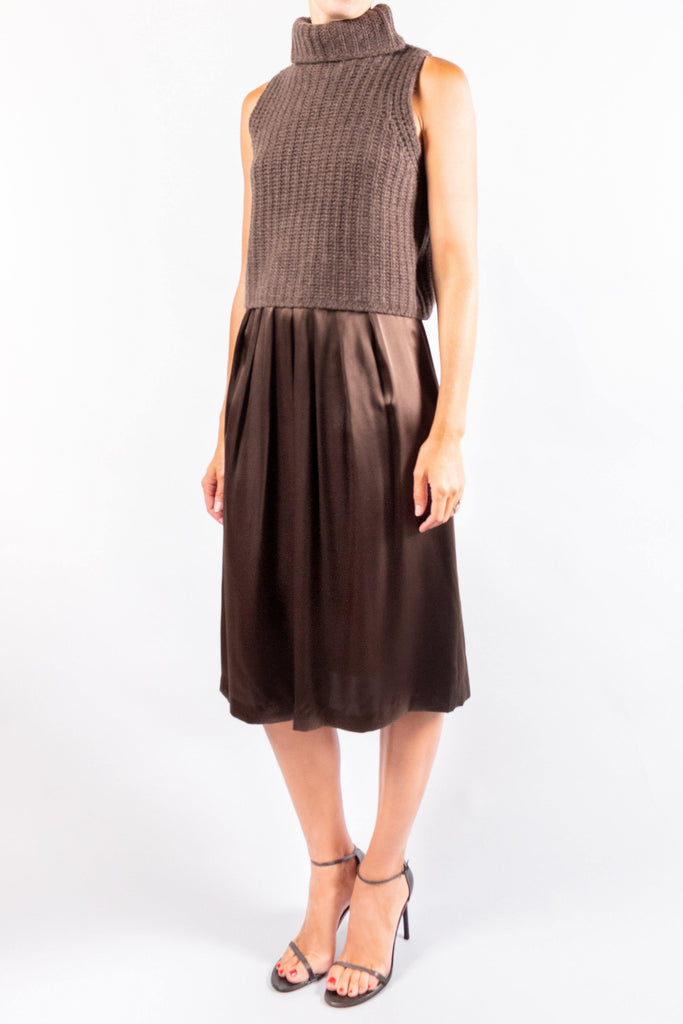 Harlow Pleated Silk Skirt