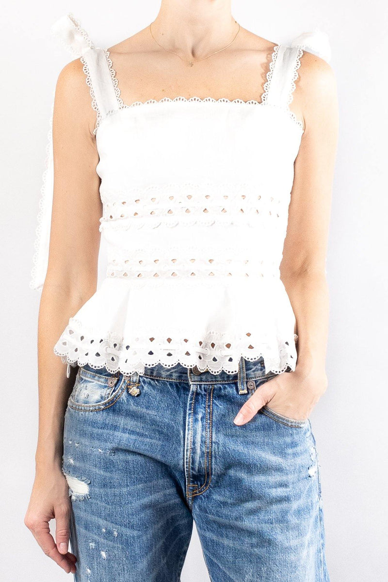 Zimmermann Kirra Tie Shoulder Cropped Top